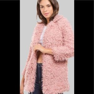 Pink shaggy coat!! Perfect for cold nights!